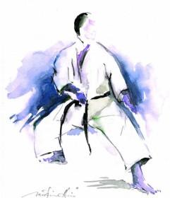 Karate Aquarell Gedan Shuto Uke Karl-Hans König
