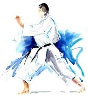 Karate Kunst Aquarelle Uchi Uke