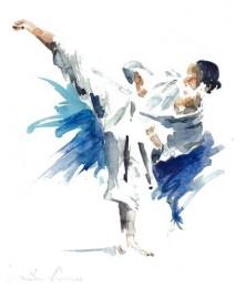 Aquarell Karate Yoko geri Sigi Hartl - Karl-Hans König
