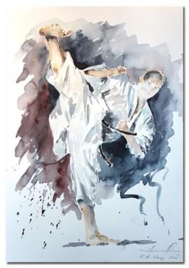 Karate Aquarell Shotokan Gyaku Tsuki